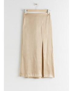 Side Slit Midi Skirt Beige