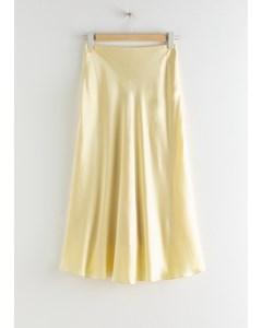 Bias Cut Satin Midi Skirt Cream
