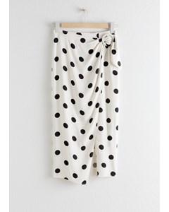 Polka Dot Pencil Midi Skirt