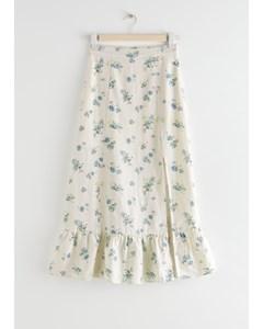 Side Slit Linen Midi Skirt White Florals