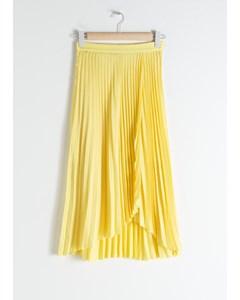 Pleated Wrap Midi Skirt Yellow