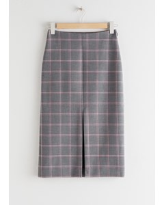 Front Slit Plaid Pencil Skirt Grey Pink