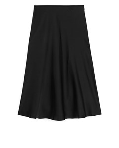 Bias-cut Satin Skirt Black