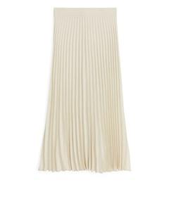 Pleated Crepe Skirt Light Beige