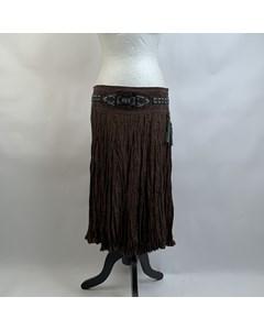 Class Roberto Cavalli Vintage Brown Silk Skirt With Beads Size 42