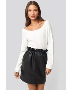 Drawstring Pu Skirt Black