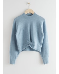 Twist Detail Knit Sweater Light Blue