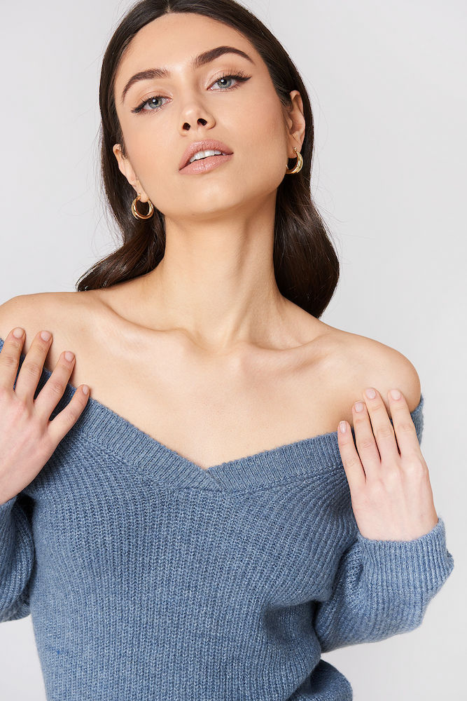 54de2e1252 Off Shoulder V Knitted Sweater - Stone Blue -