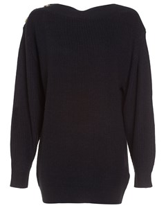 Shoulder Button Knit Black