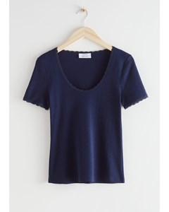 Ribbed Lace Trim T-shirt Navy