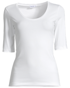 Soft Lycra Scoopneck Top White