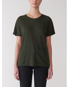 Short Sleeved Linen T-shirt Military Green