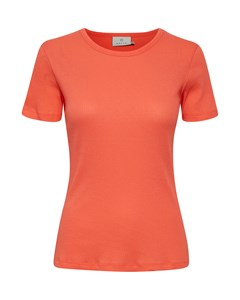 Karita U-neck T-shirt Living Coral