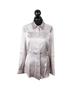 Dolce & Gabbana Light Gray Satin Button Down Shirt Blouse Top