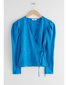 Jacquard Puff Sleeve Wrap Top Turquoise