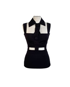Versace Black Viscose Cut Out Sleevess Top With Collar Size 40