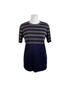 Yves Saint Laurent Vintage Blue Gold Stripes Jumper Size 42