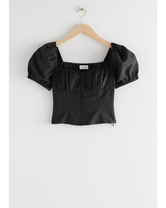 & Other Stories Puff Sleeve Jacquard Top Black