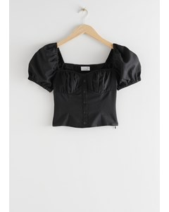 Puff Sleeve Jacquard Top Black