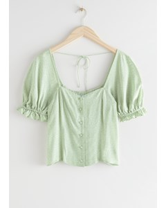 Buttoned Puff Sleeve Top Green Print