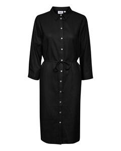 T6191, Woven Linen Dress L/s Black
