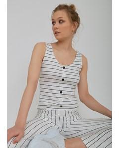 Button Stripe Singlet White/black Stripe