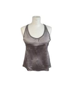 Brunello Cucinelli Gray Silk Sleeveless Top Cashmere Trim Size S