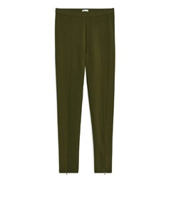 Wool Blend Leggings Dark Khaki Green