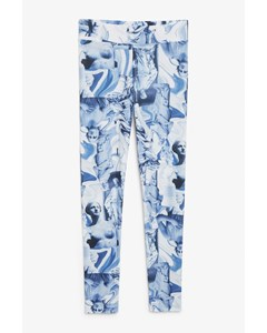 Statue Print Leggings Blue With Statues