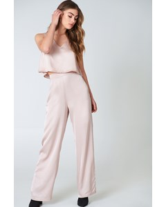 Flared Shiny Pants Beige Pink