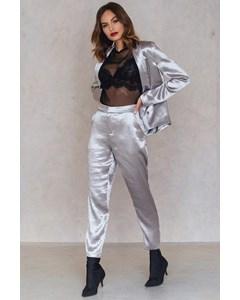 Metallic Straight Pants  Silver