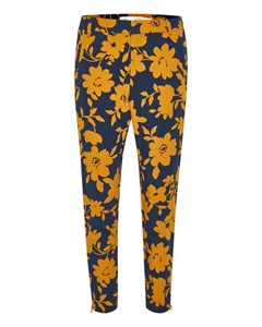 Nica No Rib Printed Pant Flower Yellow Navy