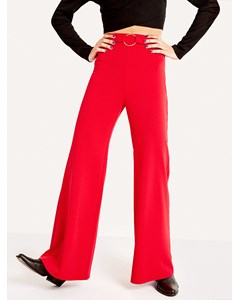 Round Buckle Flare Trousers-1 Red