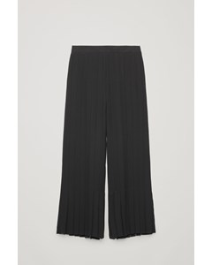 Pleated Wide-leg Trousers Black