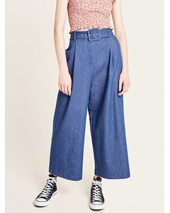 Wide Leg Denim Belted Trousers Blue