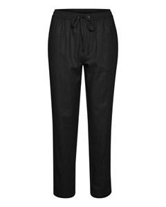 Woven Linen Pants Black