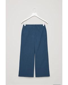 Poplin Wide-leg Trousers Indigo