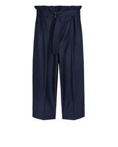 Relaxed Flannel Trousers Dark Blue