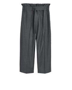 Relaxed Flannel Trousers Grey Melange