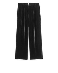 Wide Velvet Trousers Black