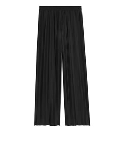 Pleated Jersey Trousers Black
