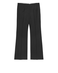 Flared Wool Hopsack Trousers Black