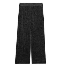 Fine-knit Glittery Trousers Black/silver