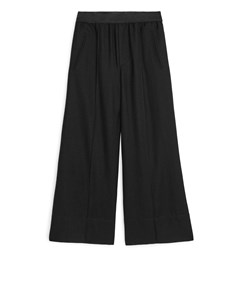 Cropped Wool Trousers Black