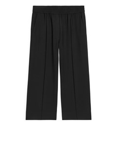 Elastic Waist Cropped Wool Trousers Black