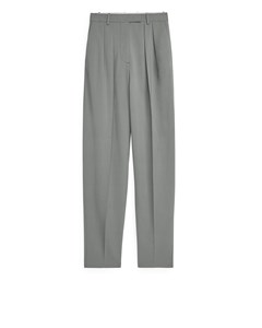 Tapered High-waist Trousers Grey