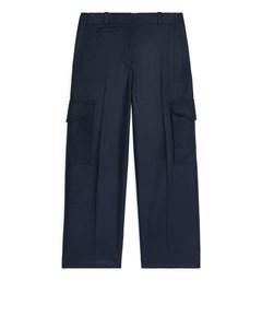 Wool Cashmere Cargo Trousers Dark Blue