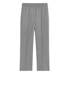 Elastic Waist Wool Trousers Grey