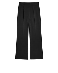Cropped Cotton Trousers Black