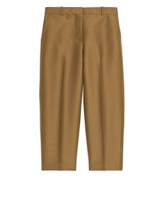 Lyocell-wool Satin Trousers Brown